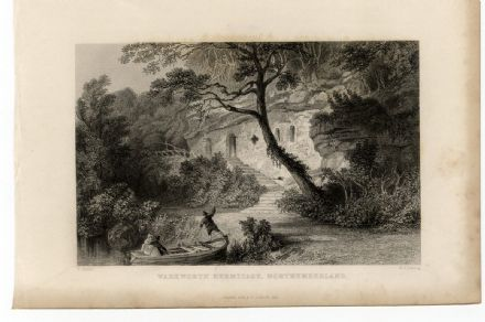 1835 Antique Print WARKWORTH HERMITAGE Hermits Cave COQUET RIVER Northumberland